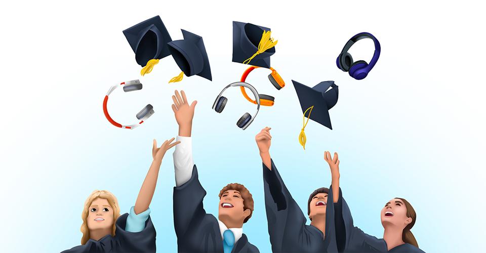 college students celebrating graduation