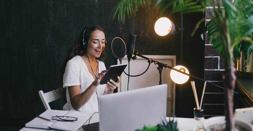 Women learning how to start a podcast
